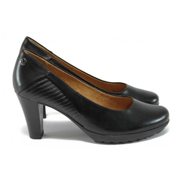 Немски дамски обувки на ток от естествена кожа Caprice 9-22415-27 черен ANTISHOKK
