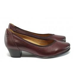 Ортопедични дамски обувки от естествена кожа Caprice 9-22414-27 бордо ANTISHOKK