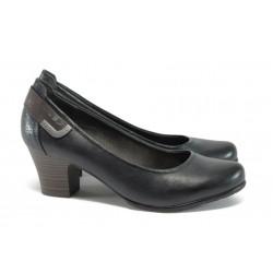 Немски обувки на ток от естествена кожа Jana 8-22404-27Н т.син