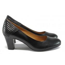 Дамски обувки от естествена кожа на ток Caprice 9-22413-27 черен ANTISHOKK