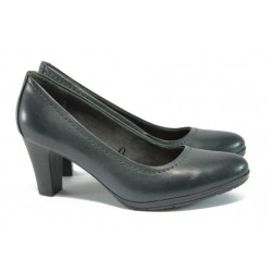 Дамски обувки от естествена кожа на ток Jana 8-22405-27G сив-графит ANTISHOKK
