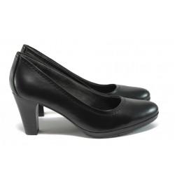Дамски обувки от естествена кожа на ток Jana 8-22405-27G черен ANTISHOKK