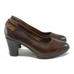 Анатомични дамски обувки от естествена кожа Jana 8-22403-27 кафяв