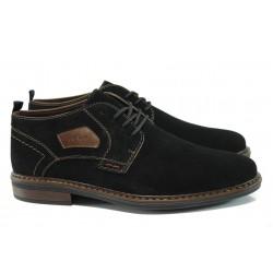 Мъжки обувки от естествен велур Rieker 17630-00 черен ANTISTRESS