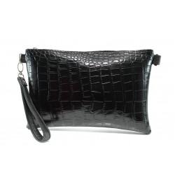 Българска дамска чанта с кроко мотив СБ 1210 черен кроко | Дамска чанта | MES.BG
