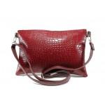 Българска дамска чанта с кроко мотив СБ 1210 червен кроко | Дамска чанта | MES.BG
