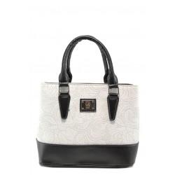 Българска дамска чанта СБ 1194 бял-черен | Дамски чанти | MES.BG
