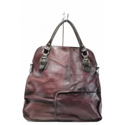 Българска дамска чанта от естествена кожа ИО 12 бордо змия | Дамска чанта | MES.BG