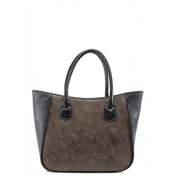 Българска дамска чанта СБ 1218 кафяв-черен | Дамски чанти | MES.BG
