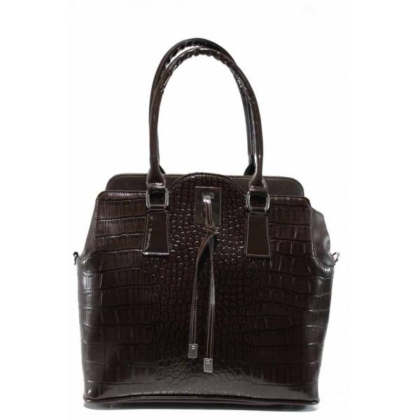 Българска дамска чанта СБ 1207 кафяв кроко | Дамска чанта | MES.BG