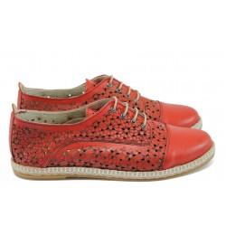 Дамски ортопедични обувки от естествена кожа НБ 3191-983 червен | Равни дамски обувки | MES.BG