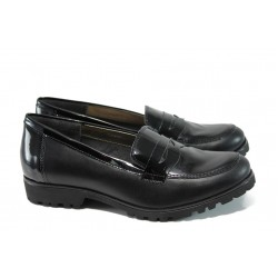 Български ортопедични дамски обувки от естествена кожа ГР 20001 черен | Равни дамски обувки | MES.BG