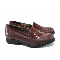 Ортопедични български дамски обувки от естествена кожа ГР 20001 бордо | Равни дамски обувки | MES.BG