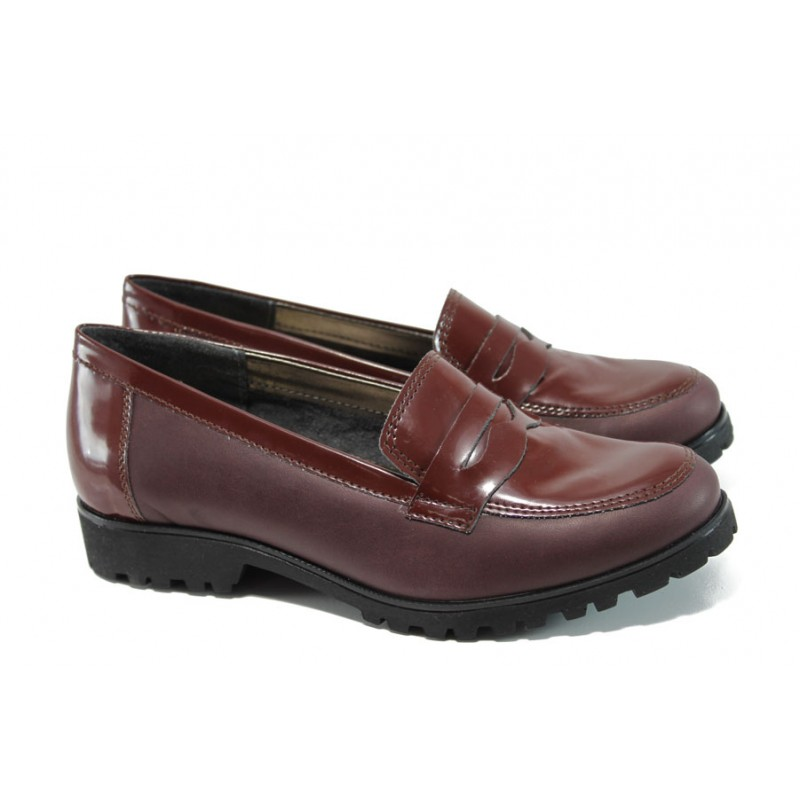 8d975a6fc33 Български ортопедични дамски обувки от естествена кожа ГР 20001 бордо |  Равни дамски обувки | MES.