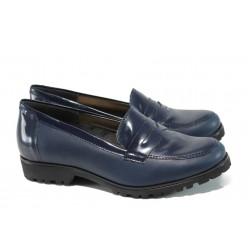 Български ортопедични дамски обувки от естествена кожа ГР 20001 син | Равни дамски обувки | MES.BG