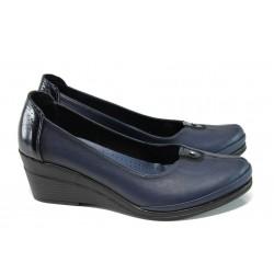 Анатомични дамски обувки от естествена кожа МИ 260 син | Дамски обувки на платформа | MES.BG
