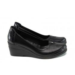 Анатомични дамски обувки от естествена кожа МИ 260 черен | Дамски обувки на платформа | MES.BG