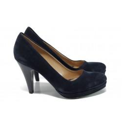 Дамски елегантни обувки МИ 510 т.син велур | Дамски обувки на висок ток | MES.BG
