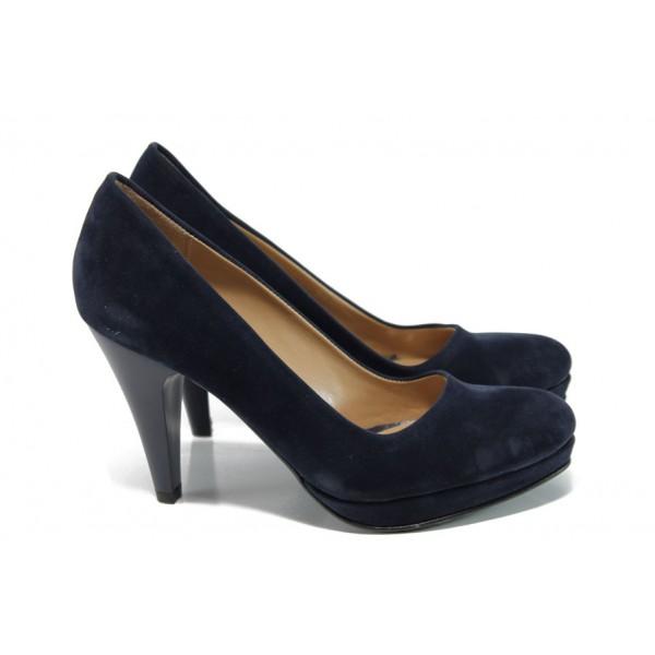 Дамски елегантни обувки МИ 510 т.син велур   Дамски обувки на висок ток   MES.BG
