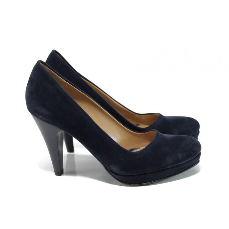 9288d81a12f Дамски елегантни обувки МИ 510 т.син велур | Дамски обувки на висок ток |  MES.