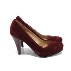 Дамски елегантни обувки МИ 510 бордо велур | Дамски обувки на висок ток | MES.BG
