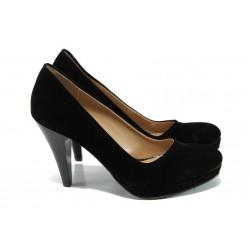 Дамски елегантни обувки МИ 510 черен велур | Дамски обувки на висок ток | MES.BG