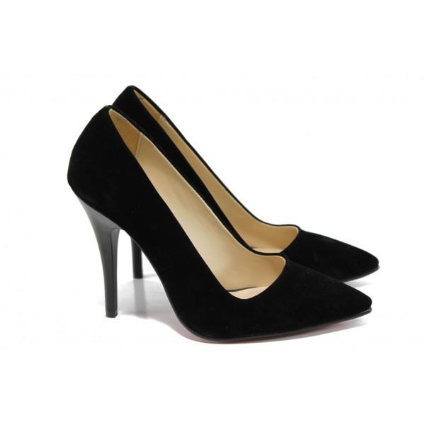Дамски елегантни обувки МИ 308 черен велур | Дамски обувки на висок ток | MES.BG