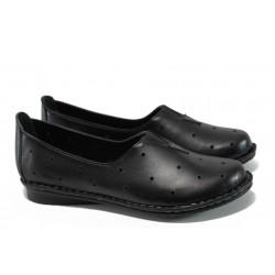 Ортопедични дамски обувки от естествена кожа МИ 710 черен | Равни дамски обувки | MES.BG