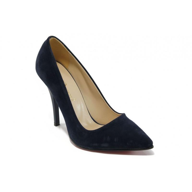 Дамски елегантни обувки МИ 308 син велур | Дамски обувки на висок ток | MES.BG