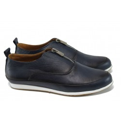 Равни дамски обувки от естествена кожа МИ 195 син | Равни дамски обувки | MES.BG