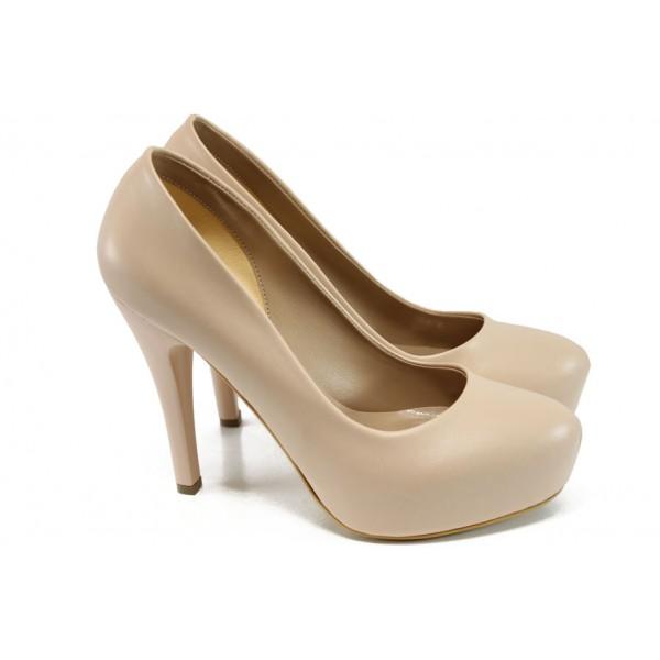 Елегантни обувки с платформа МИ 83 бежов | Дамски обувки на висок ток | MES.BG