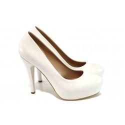 Елегантни обувки с платформа МИ 83 бял | Дамски обувки на висок ток | MES.BG