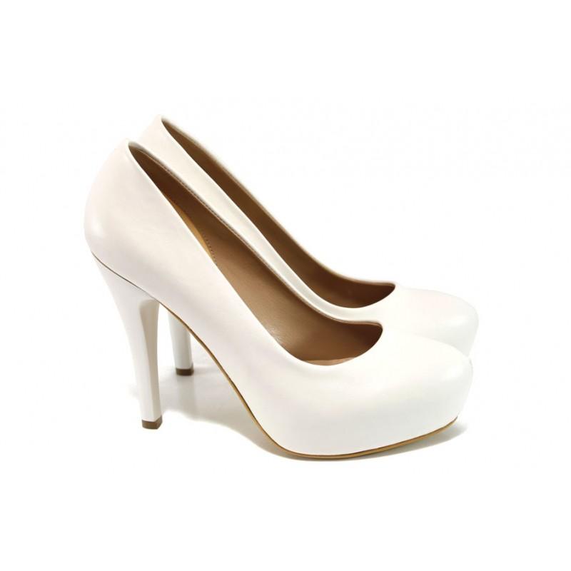 44157bd34af Елегантни обувки с платформа МИ 83 бял | Дамски обувки на висок ток | MES.BG