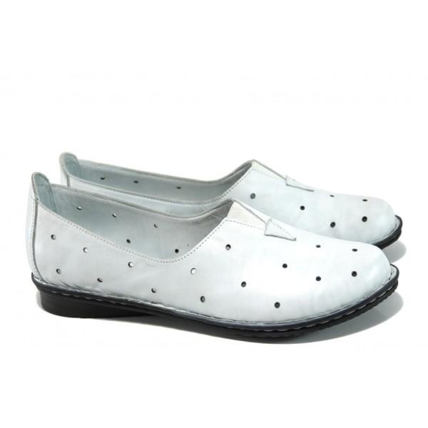 Ортопедични дамски обувки от естествена кожа МИ 710 бял | Равни дамски обувки | MES.BG