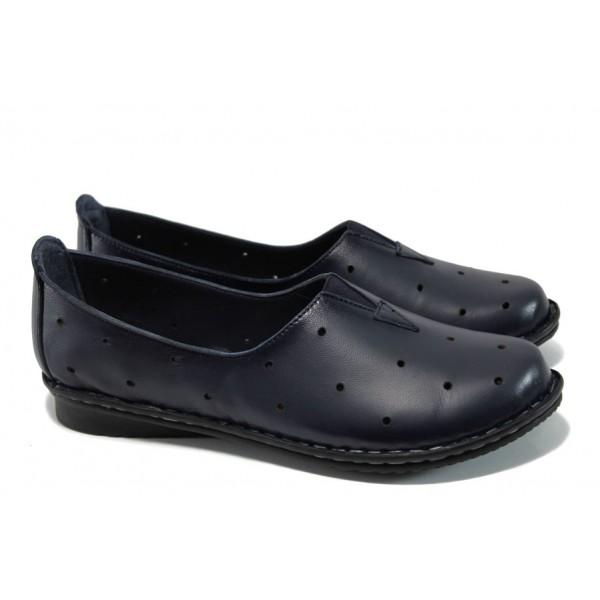Ортопедични дамски обувки от естествена кожа МИ 710 т.син   Равни дамски обувки   MES.BG