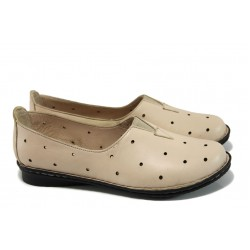 Ортопедични дамски обувки от естествена кожа МИ 710 бежов | Равни дамски обувки | MES.BG