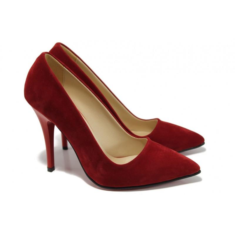 Дамски елегантни обувки МИ 308 червен велур | Дамски обувки на висок ток | MES.BG