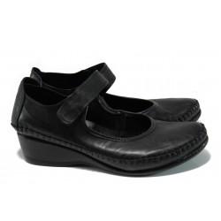 Ортопедични дамски обувки от естествена кожа МИ 155 черен | Дамски обувки на платформа | MES.BG