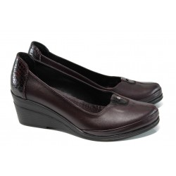 Анатомични дамски обувки от естествена кожа МИ 260 бордо | Дамски обувки на платформа | MES.BG