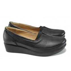 Ортопедични дамски обувки от естествена кожа МИ 012 черен кожа | Дамски обувки на платформа | MES.BG