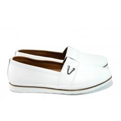 Анатомични дамски обувки от естествена кожа МИ 268 бял | Равни дамски обувки | MES.BG