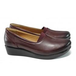Ортопедични дамски обувки от естествена кожа МИ 012 бордо кожа | Дамски обувки на платформа | MES.BG