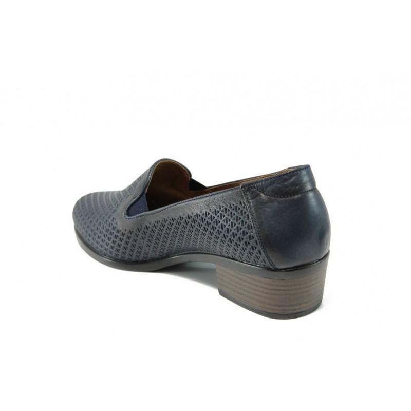 Анатомични дамски обувки от естествена кожа МИ 03-510 т.син кожа | Дамски обувки на ток | MES.BG