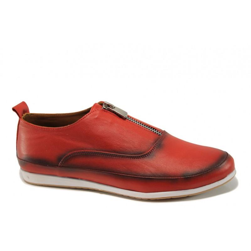 Равни дамски обувки от естествена кожа МИ 195 червен | Равни дамски обувки | MES.BG