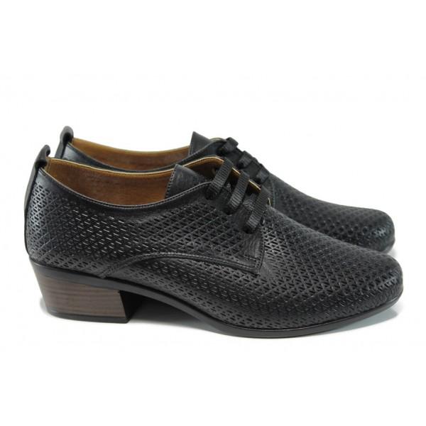 Анатомични дамски обувки от естествена кожа МИ 06-510 черен | Дамски обувки на среден ток | MES.BG