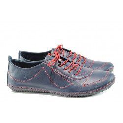 Дамски ортопедични обувки от естествена кожа МИ 061 син | Равни дамски обувки | MES.BG