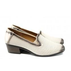 Анатомични дамски обувки от естествена кожа МИ 03-510 бежов кожа | Дамски обувки на ток | MES.BG