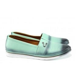 Анатомични дамски обувки от естествена кожа МИ 268 зелен | Равни дамски обувки | MES.BG