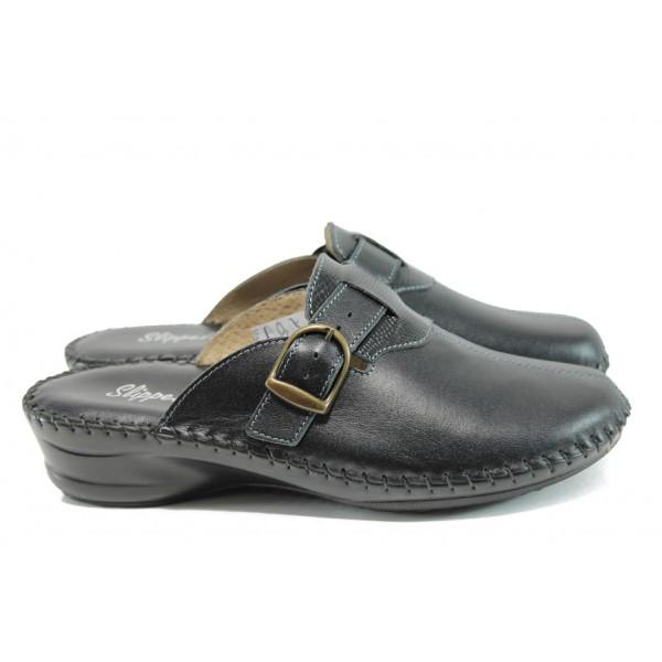 Анатомични дамски чехли от естествена кожа - тип сабо ИН 13489-9 черен | Дамски чехли | MES.BG