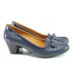 Анатомични дамски обувки от естествена кожа МИ 300 син | Дамски обувки на среден ток | MES.BG